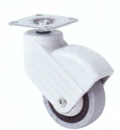 Műanyag forgó villás intézményi kerék 50mm (szürke)
