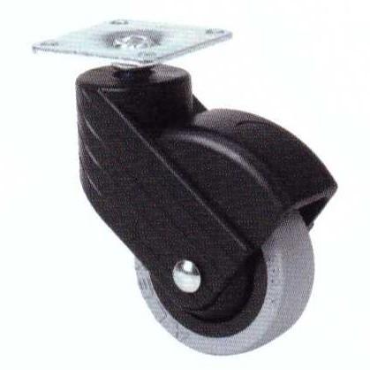 Műanyag forgó villás intézményi kerék 50mm (fekete)