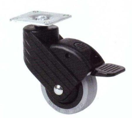 Műanyag forgó-fékes villás intézményi kerék 50 mm (fekete)