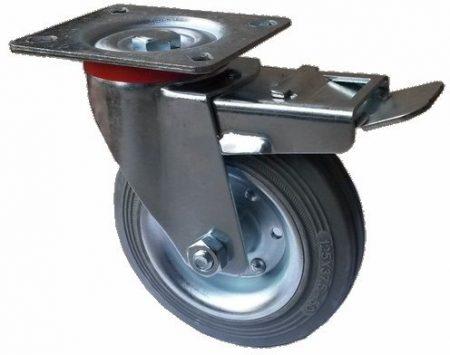 szürke tömörgumis kerék forgó-fékes villa 100 mm
