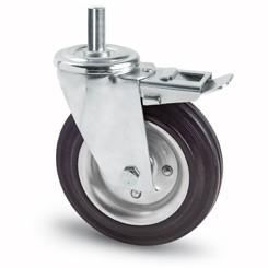 tömörgumis kerék csapos villa fékes 100 mm
