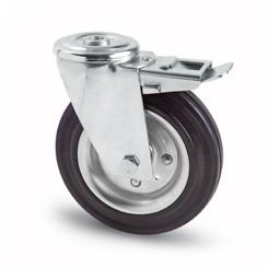 tömörgumis kerék hátfuratos-fékes villa 100 mm