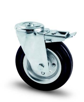 Tömörgumis kerék hátfuratos-fékes villában 200mm