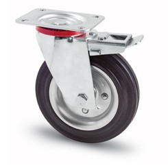 tömörgumis kerék forgó-fékes villa 80 mm