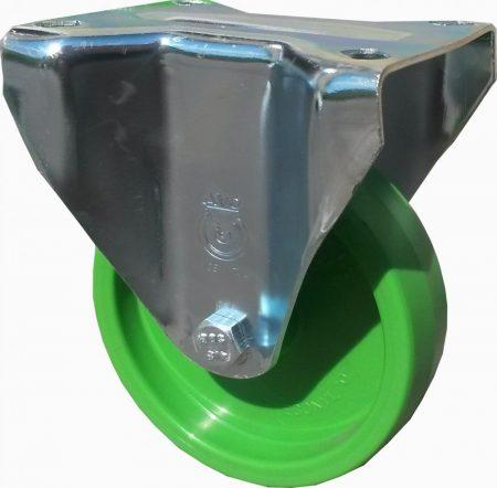 zöld poliamid kerék fix villával 100 mm
