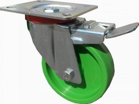 zöld poliamid kerék fékes villa 100 mm