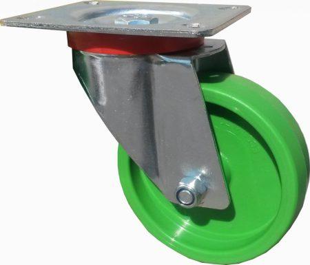 zöld poliamid kerék forgó villával 100 mm