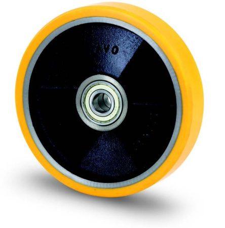 Öntöttvas kerék PUR futófelülettel 125x30 mm