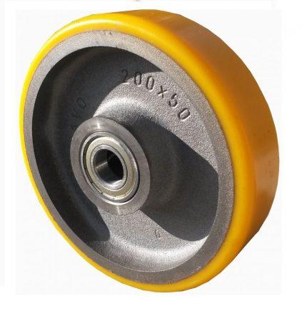 öntöttvas kerék PUR futófelülettel 200x50 mm