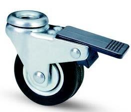 fekete gumis fémfelnis, hátfuratos fékes bútor kerék (golyós csapágy) 50 mm