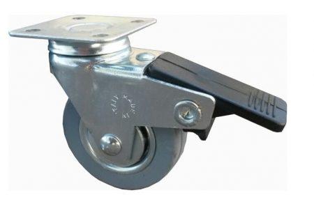 szürke gumis fémfelnis fékes bútor kerék (golyós csapágy) 50 mm