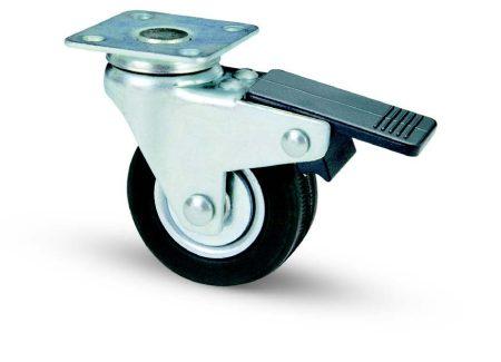 fekete gumis fémfelnis fékes bútor kerék (golyós csapágy) 50 mm