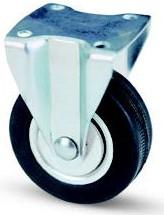 fekete gumis fix fémfelnis bútor kerék (golyós csapágy) 50 mm