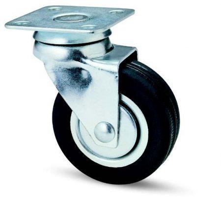 fekete gumis fémfelnis bútor kerék (golyós csapágy)
