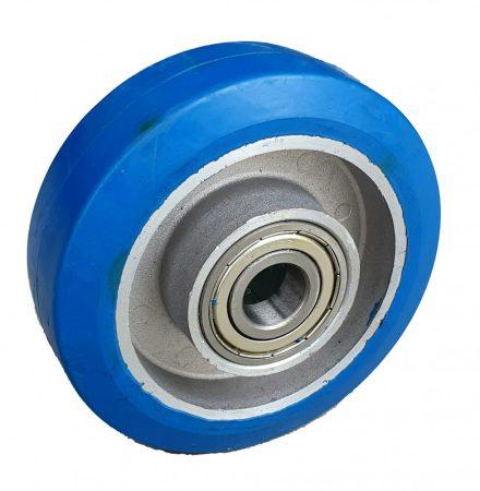 Alumínium kerék kék nyommentes elasztikus gumi futófelülettel 200 mm