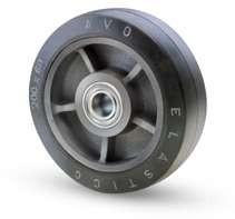 Öntöttvas kerék elasztikus gumis futófelülettel 200 mm
