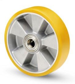 Aluminium kerék PUR futófelülettel 250mm ( tengely: 30mm)