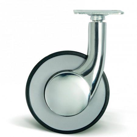 Króm forgó villás műanyag bútor kerék 80 mm