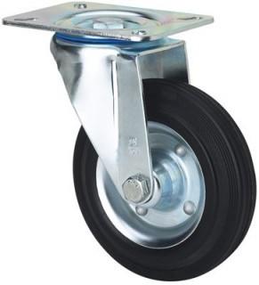 Erősített tömörgumis kerék forgó villa 125 mm