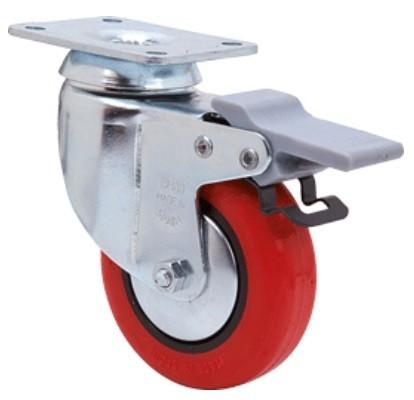 piros PUR design kerék (fékes) 100 mm