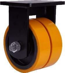 Dupla öntöttvas kerék EXTRA teherbírással fix villában - 250mm