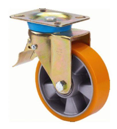 Alumínium kerék PUR futófelülettel forgó-fékes villában 200mm
