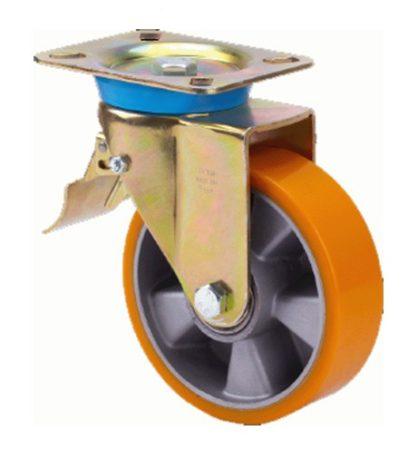 Alumínium kerék PUR futófelülettel forgó-fékes villa 200 mm