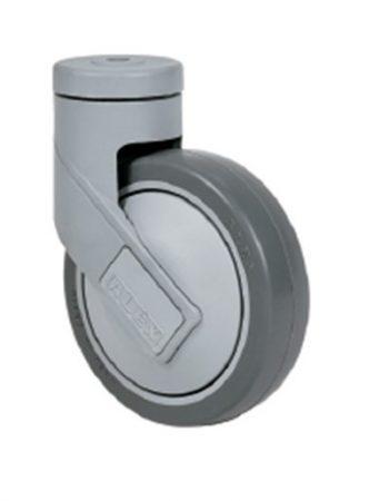 Műanyag forgó villás intézményi kerék 125x32 mm (szürke)