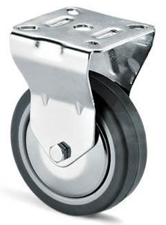 szürke gumis krómozott kerék fix 100mm