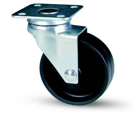 Fekete poliamid kerék forgó villa 35mm