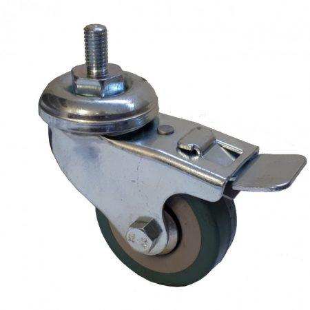 Elasztikus gumis kerék csavaros forgó-fékes villa 50x18 mm
