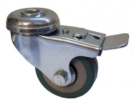 Elasztikus gumis nyommentes kerék hátfuratos forgó-fékes villa 50x18 mm
