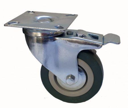 Elasztikus gumis nyommentes kerék forgó-fékes villában 75x21 mm