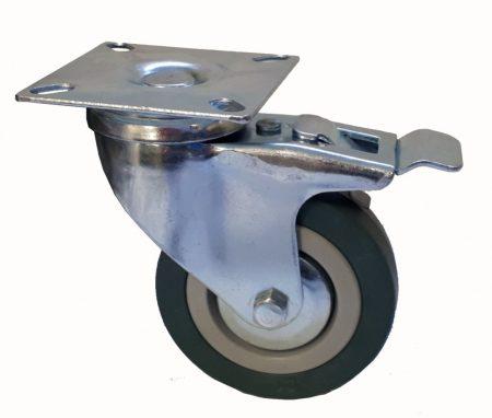 Elasztikus gumis nyommentes kerék forgó-fékes villa 75x21 mm