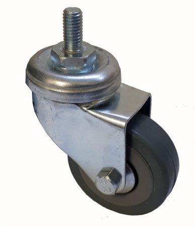 Elasztikus gumis nyommentes kerék csavaros forgó villa 50x18 mm