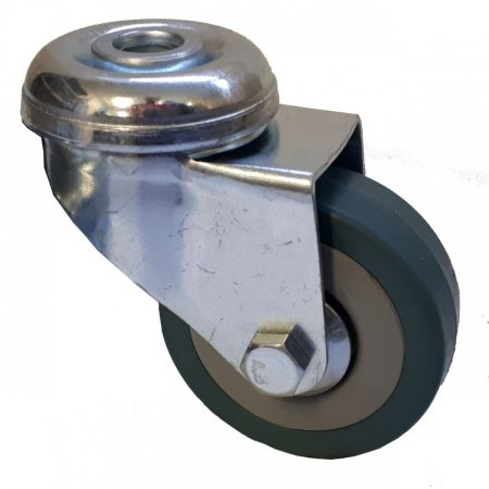 Elasztikus gumis nyommentes kerék hátfuratos villa 50x18 mm