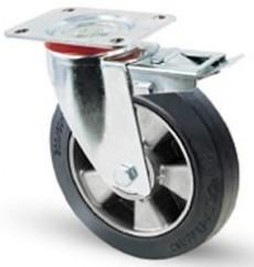 Elasztikus gumis kerék fékes forgó villával 125mm