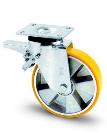 Aluminium kerék PUR futófelülettel forgó-fékes villa 250 mm