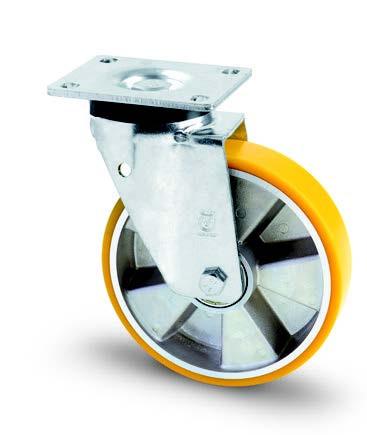 Aluminium kerék PUR futófelülettel forgó villában 250mm