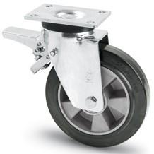 Elasztikus gumis kerék forgó-fékes villa 200 mm