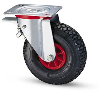 molnárkocsi kerék 260 mm forgó-fékes villa