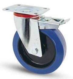 Elasztikus gumis kerék forgó-fékes villa 100 mm