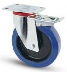 Elasztikus gumis kerék fékes forgó villa 80 mm