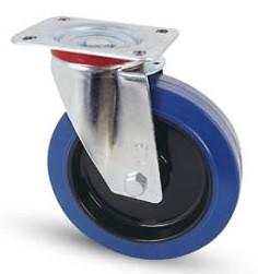 Elasztikus gumis kerék forgó villa 100 mm