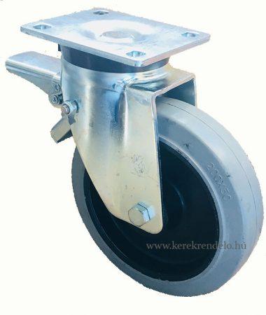 Erősített poliamid kerék elasztikus gumi futófelülettel forgó-fékes villa 200 mm