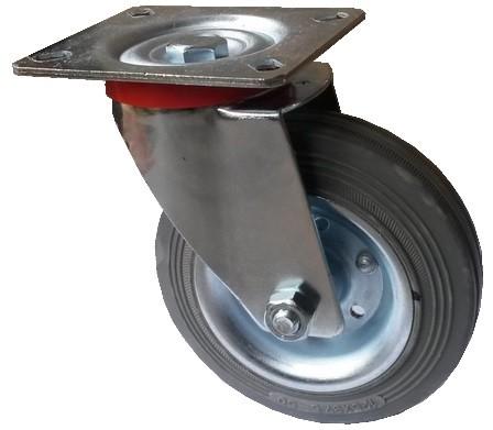 Szürke tömörgumis kerék forgó villa 125 mm