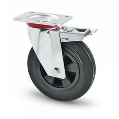 tömörgumis kerék forgó-fékes villa 100 mm