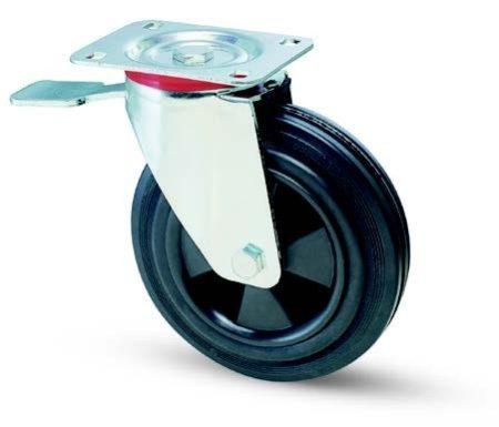 Konténer kerék forgó-fékes villában 200mm