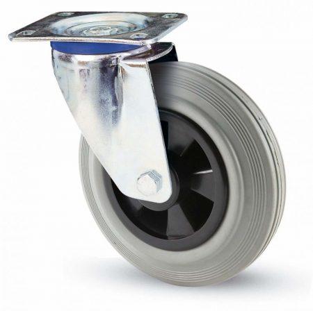 INOX szürke tömörgumis forgó villa 125mm
