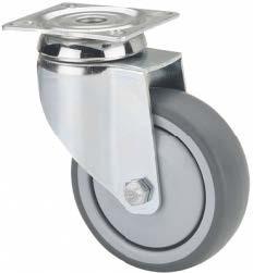 szürke gumis intézményi kerék forgó villában (golyós csapágy) 100 mm
